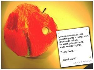 Anna paperille tehtävä. Tee sormen mentävä kolo omenatoukalle. Liitä runo taustapuolelle. Pieni esitys voi alkaa.